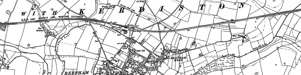 Old map of Whitwell Street in 1885