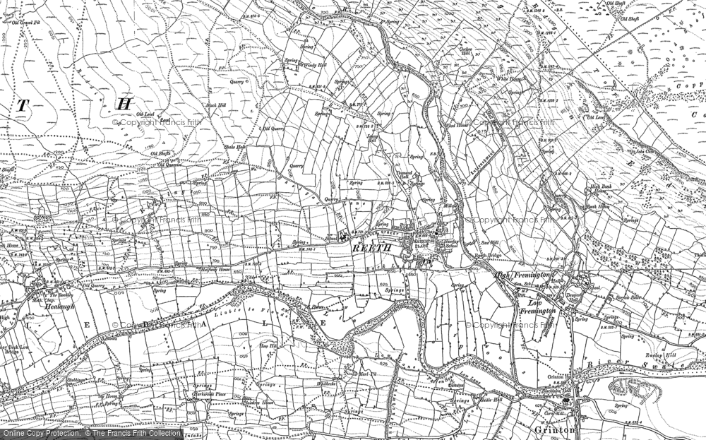 Old Map of Historic Map covering Swaledale in 1891