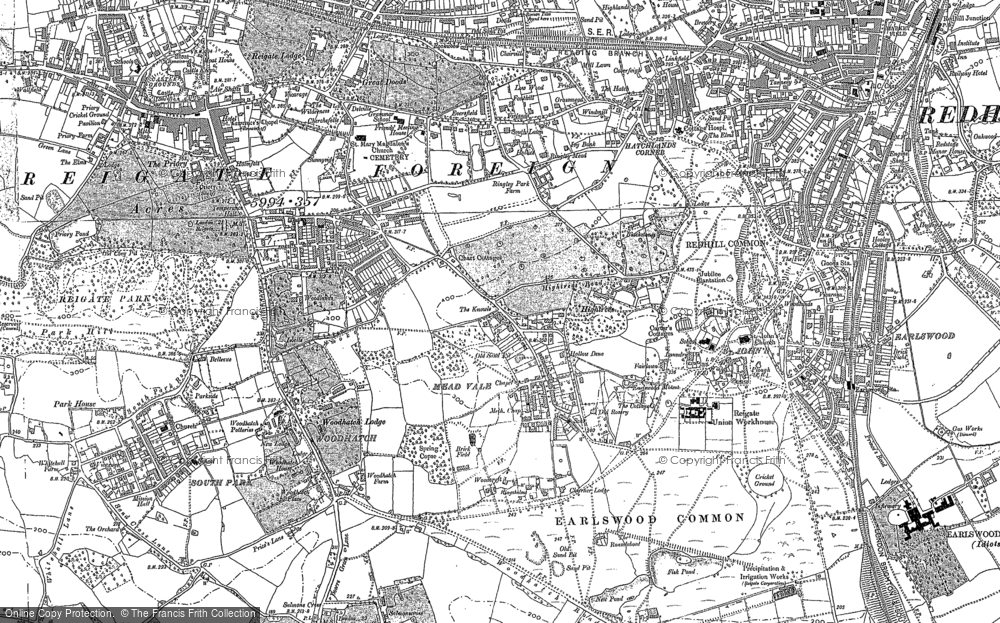 Old Map of Reigate, 1895 in 1895