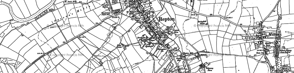 Old map of Repton in 1881