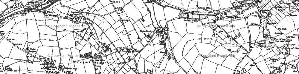 Old map of Reskadinnick in 1877