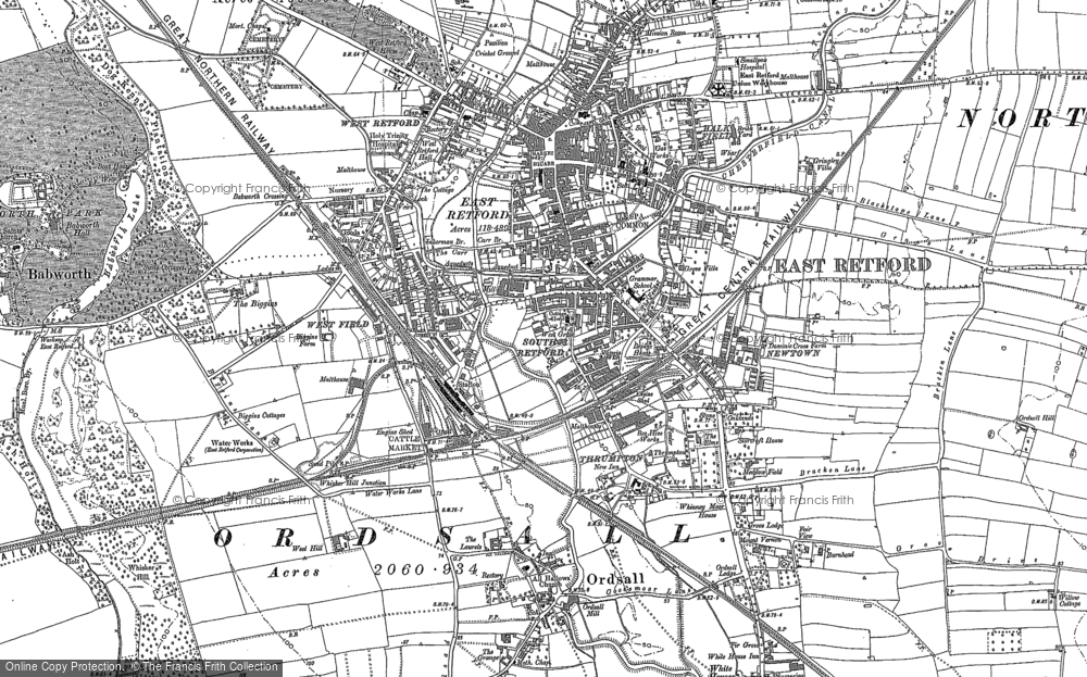 Old Map Of Retford 1884 In