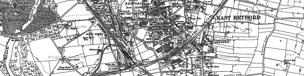 Old map of Retford in 1884