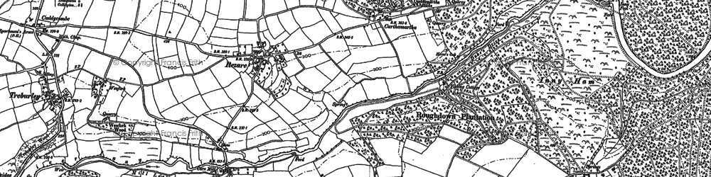 Old map of Rezare in 1905