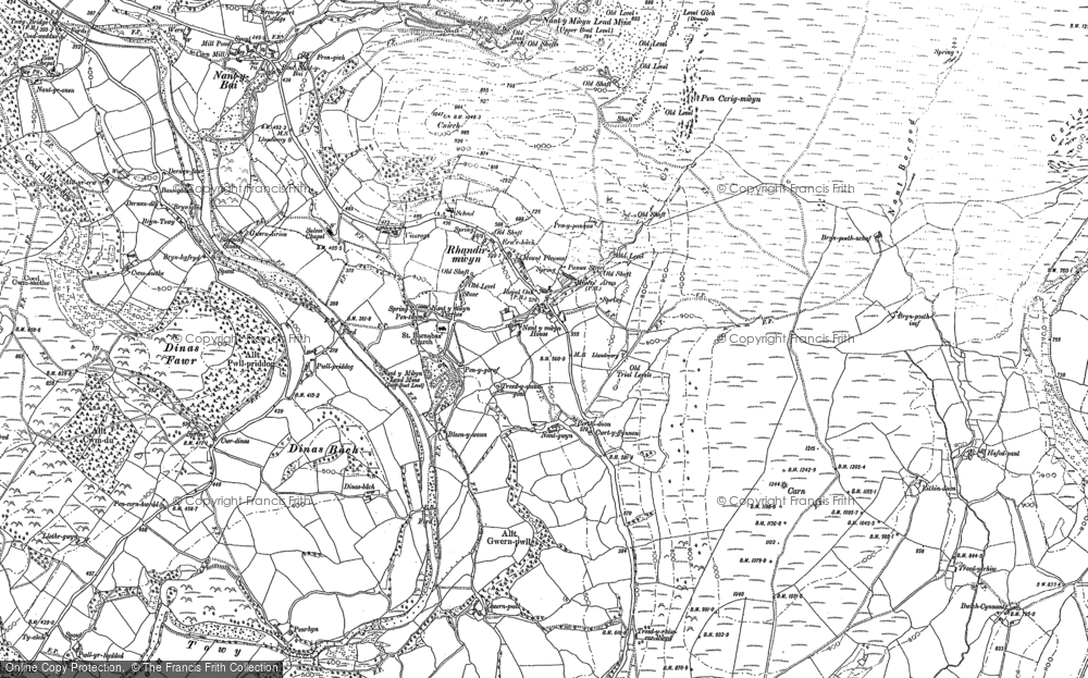 Old Map of Historic Map covering Afon Lwynor in 1904