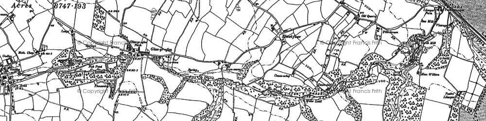 Old map of Afon y Garth in 1910