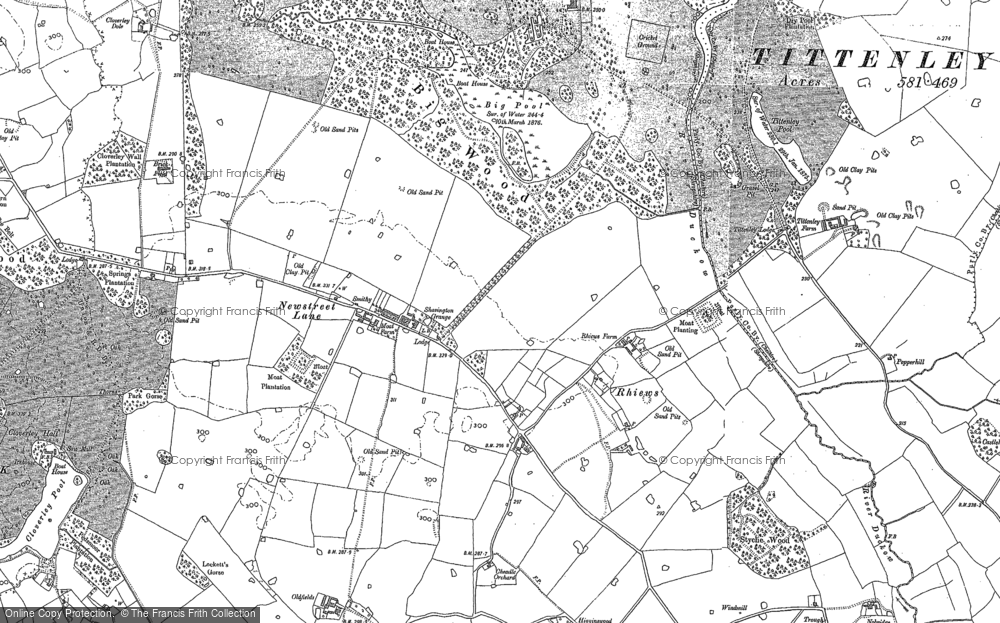 Old Map of Historic Map covering Adderley Lodge in 1879