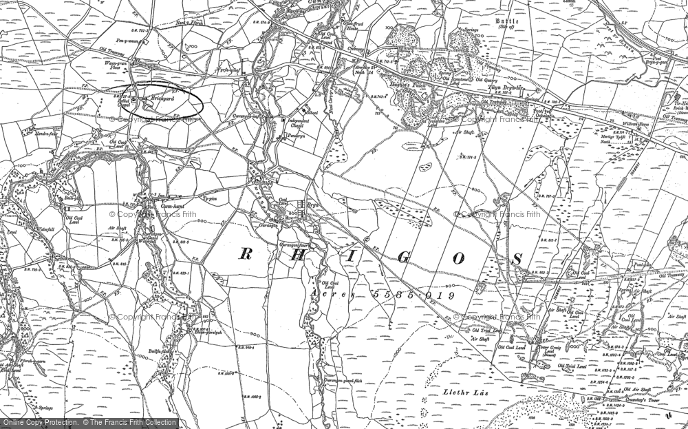 Old Map of Historic Map covering Craig y Llyn in 1903