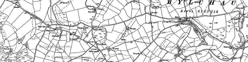 Old map of Afon Deunant in 1898