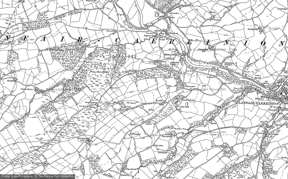Old Map of Historic Map covering Afon Einion in 1885
