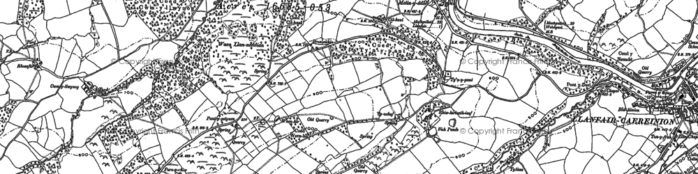Old map of Afon Einion in 1885