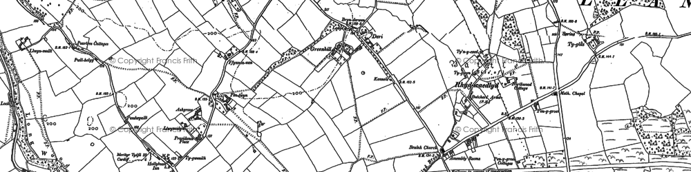 Old map of Rhiwbina in 1915