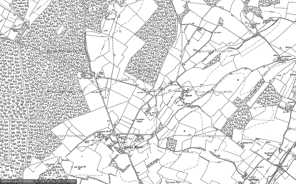 Old Map of Historic Map covering Woodland in 1896