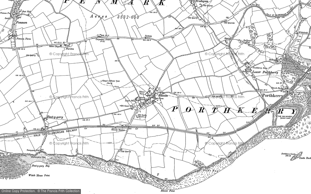 Old Map of Rhoose, 1914 - 1915 in 1914