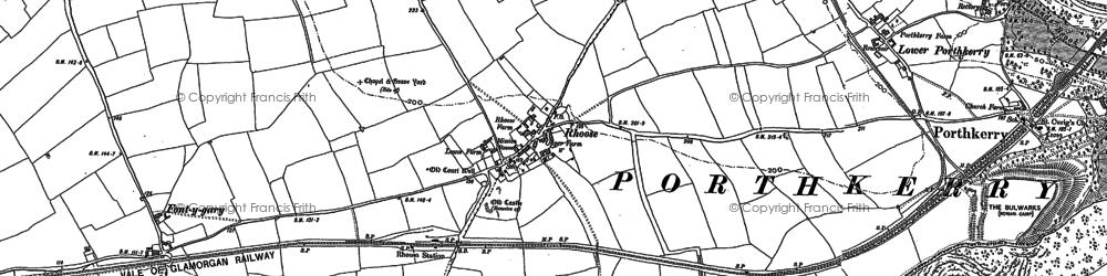 Old map of Rhoose in 1914