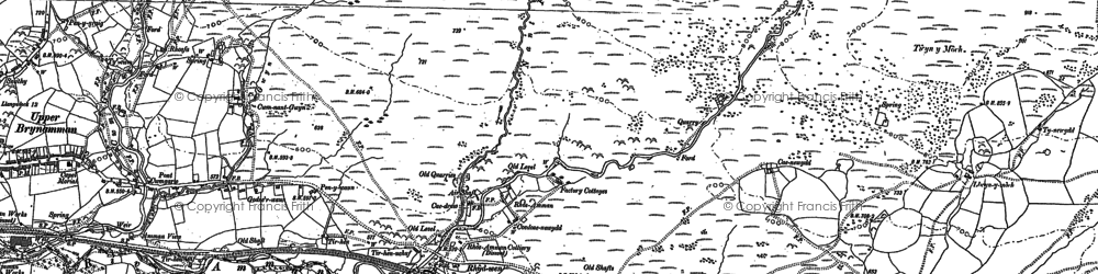 Old map of Aman Fawr in 1885