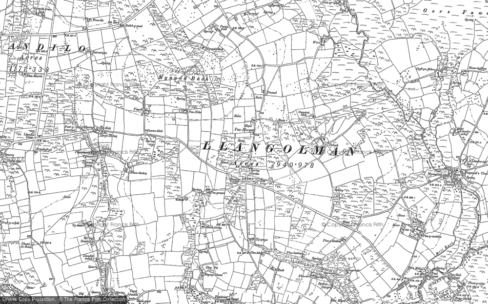 Old Map of Historic Map covering Afon Wern in 1888