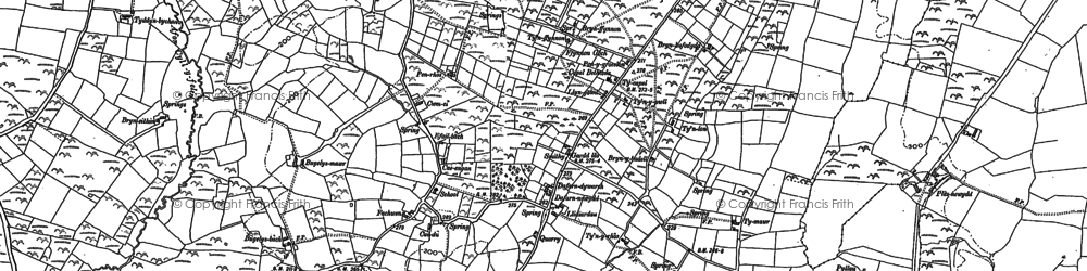 Old map of Afon Daron in 1888
