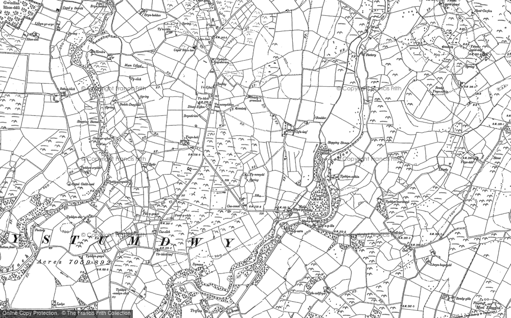 Old Map of Historic Map covering Afon Dwyfor in 1888