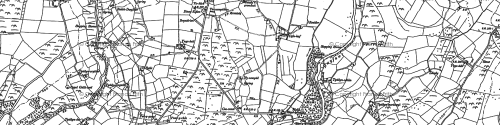 Old map of Afon Dwyfor in 1888