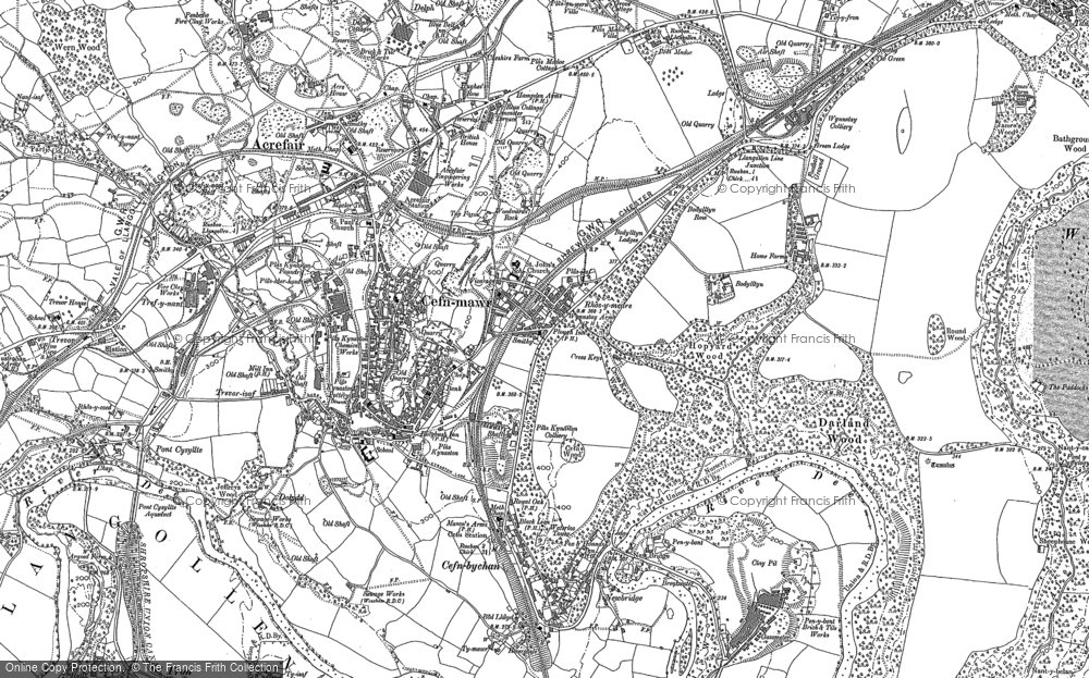 Old Map of Rhosymedre, 1909 - 1910 in 1909