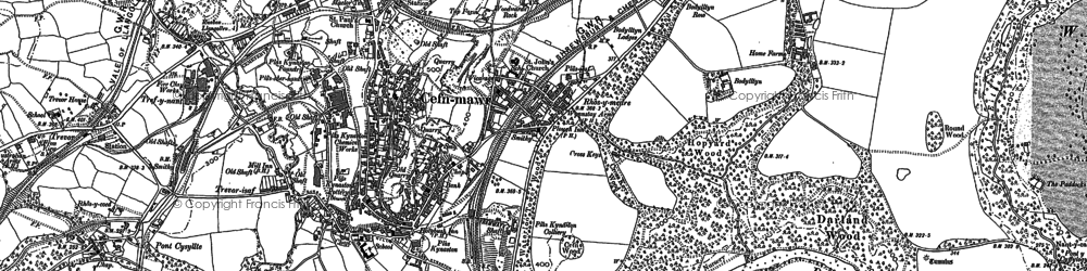 Old map of Cefn-mawr in 1909