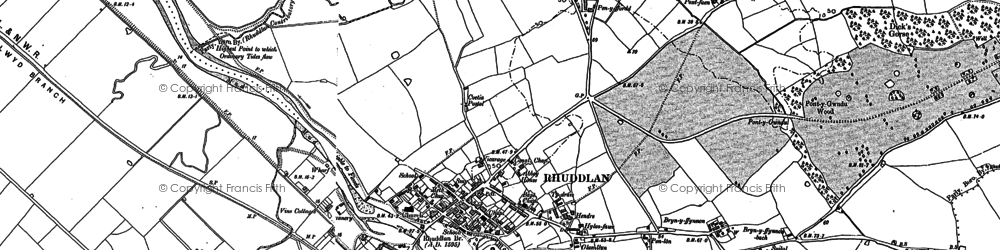 Old map of Ynys in 1911