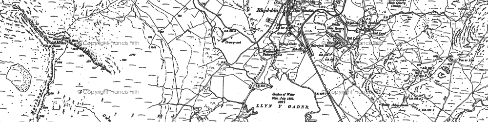 Old map of Y Garn in 1887