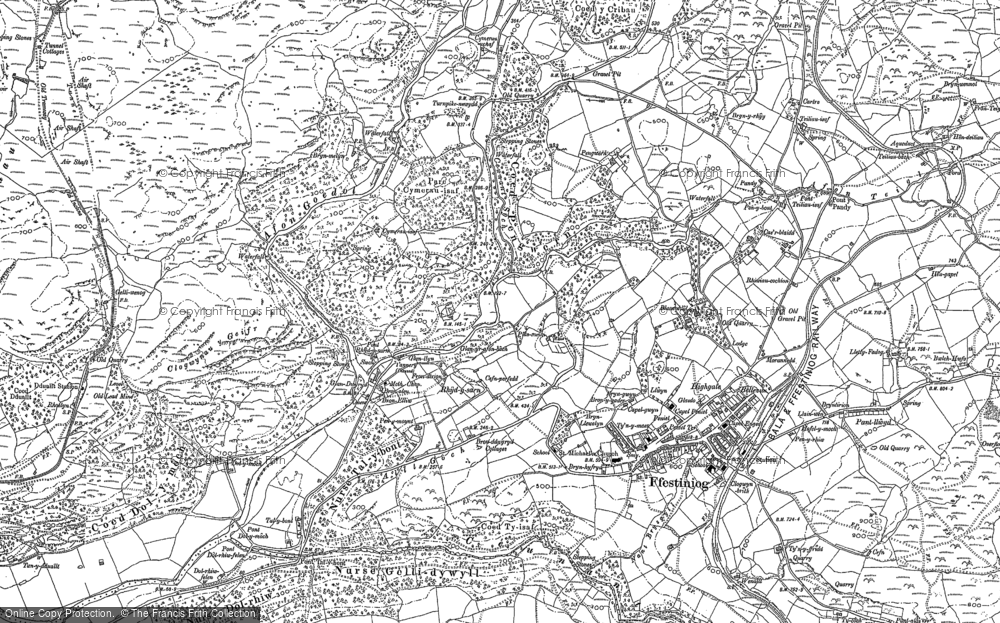 Old Map of Historic Map covering Afon Goedol in 1888
