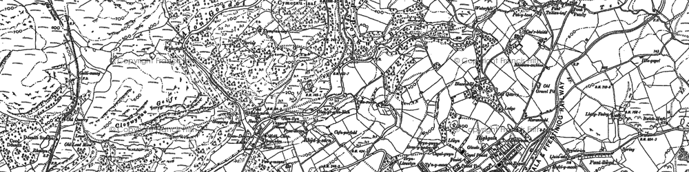 Old map of Afon Goedol in 1888