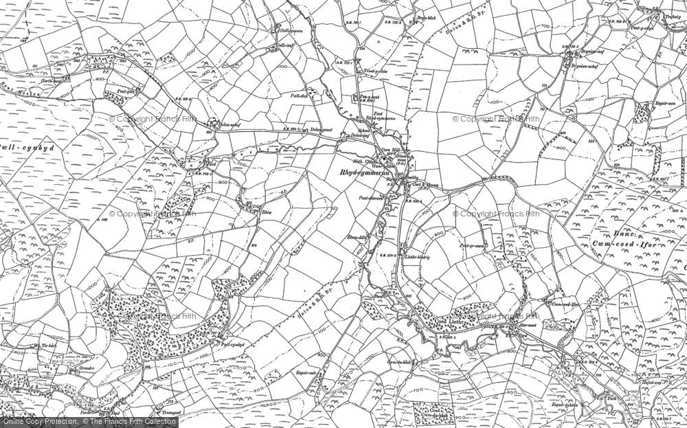 Old Map of Historic Map covering Afon Gorlech in 1886