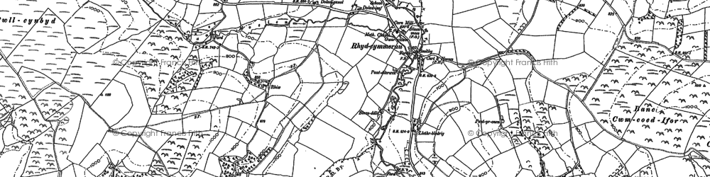 Old map of Afon Gorlech in 1886