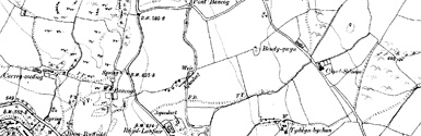 Old map of Afon Gwrysgog centred on your home
