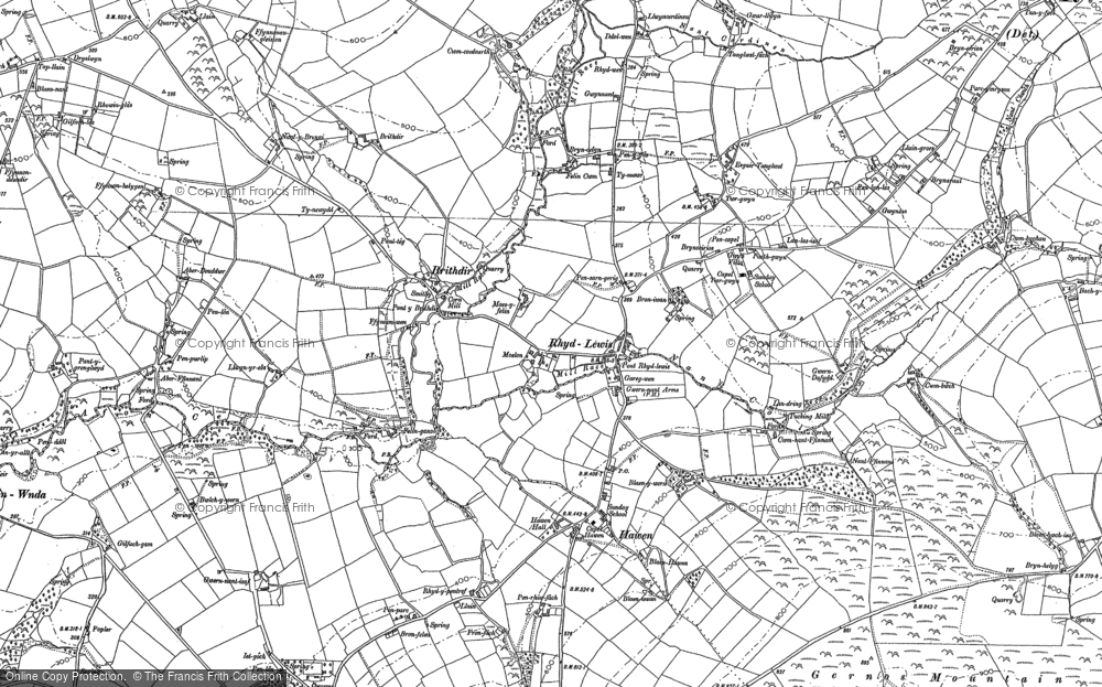 Old Map of Historic Map covering Afon Ceri in 1887