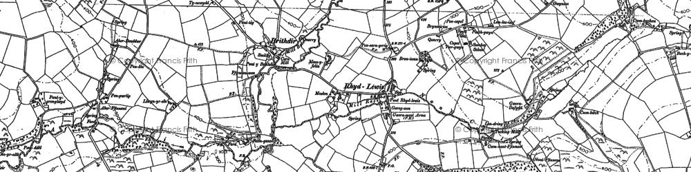 Old map of Afon Ceri in 1887