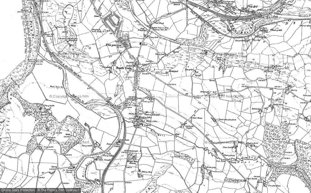 Old Map of Historic Map covering Bâch-y-rhew in 1904