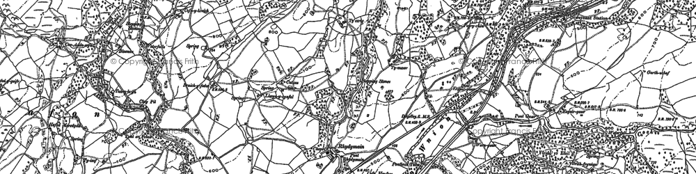 Old map of Afon Eiddon in 1887