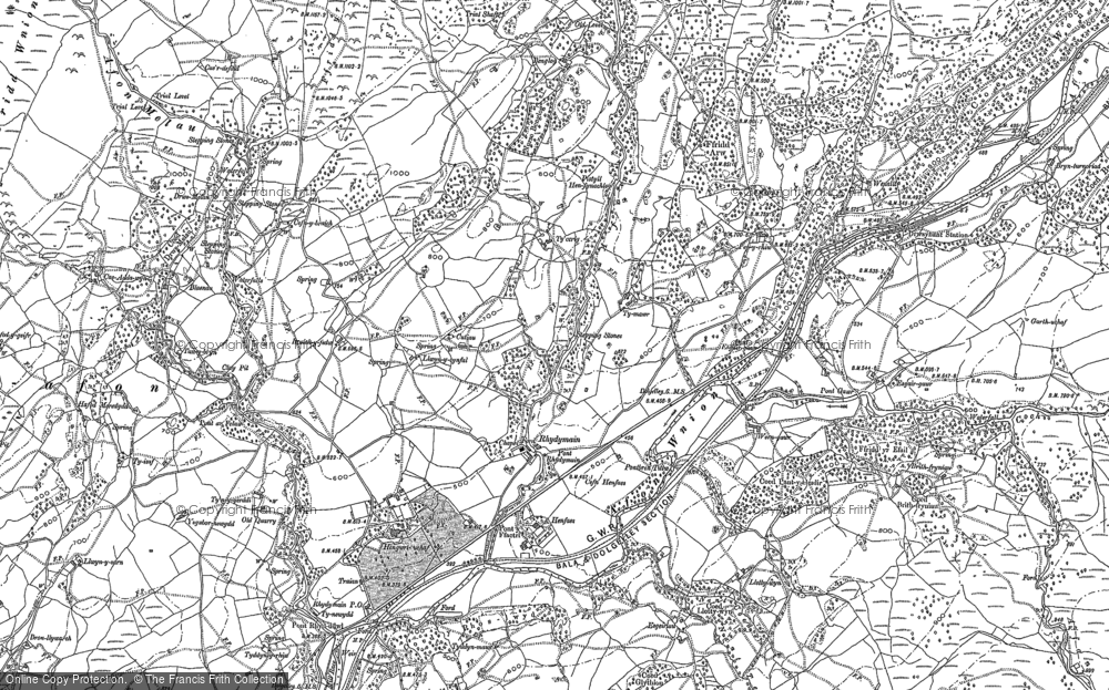 Old Map of Historic Map covering Afon Cwm-ochr in 1887