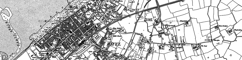 Old map of Rhyl in 1911