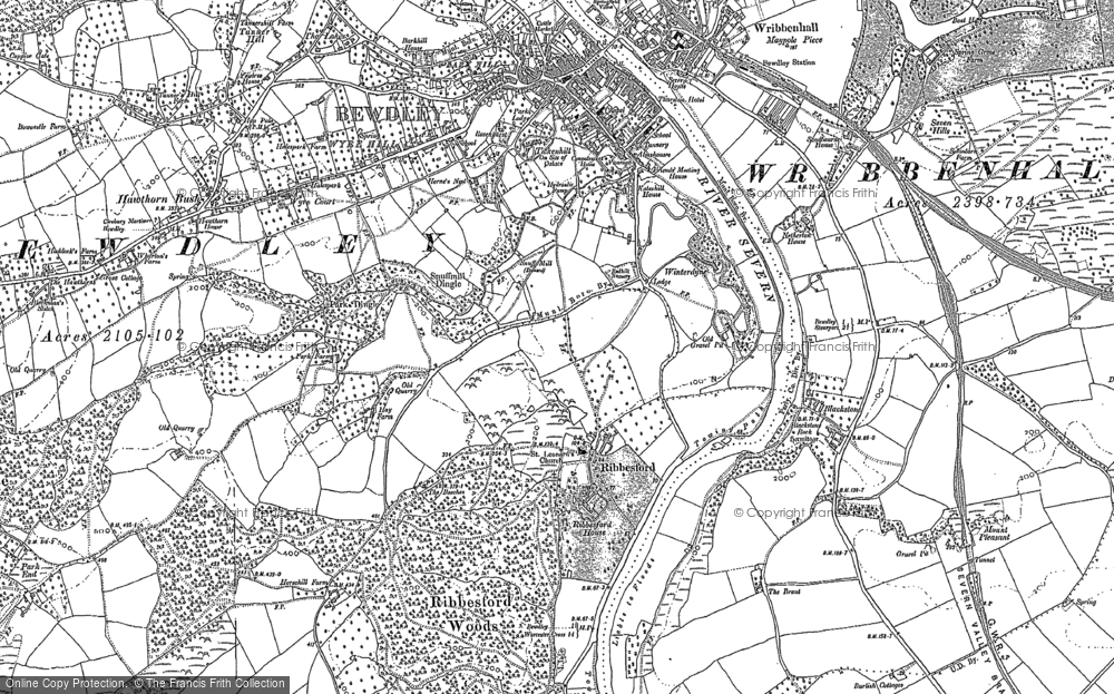 Old Map of Ribbesford, 1883 - 1901 in 1883