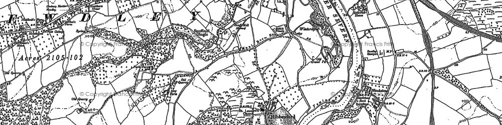 Old map of Ribbesford in 1883