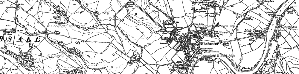 Old map of Ribchester in 1892