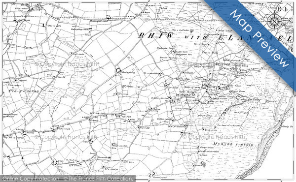 Historic map of Bilberry Knoll
