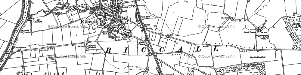Old map of Riccall in 1889