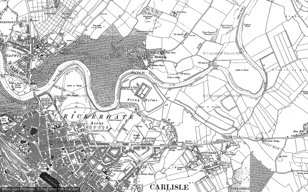 Old Map of Historic Map covering Whiteclosegate in 1888
