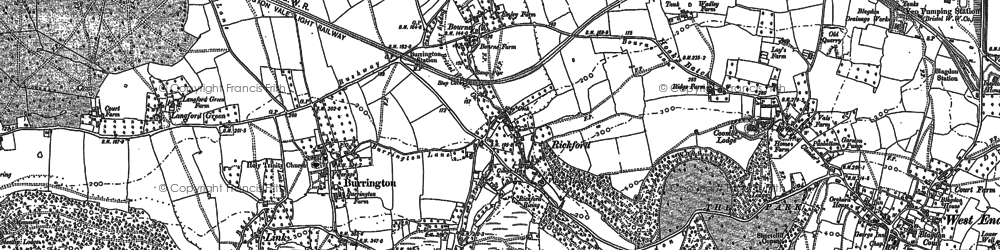 Old map of Langford Green in 1883