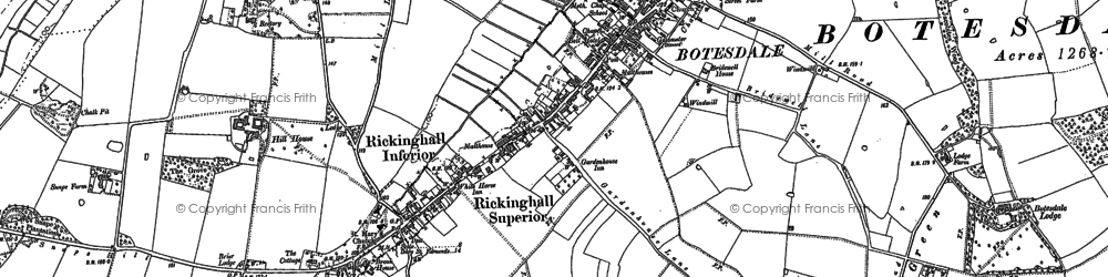 Old map of Rickinghall in 1885
