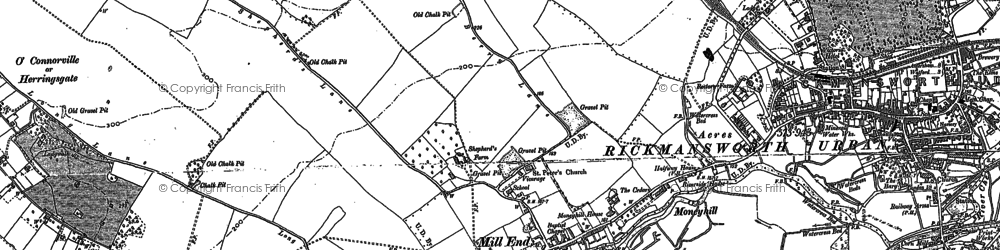 Old map of Rickmansworth in 1913