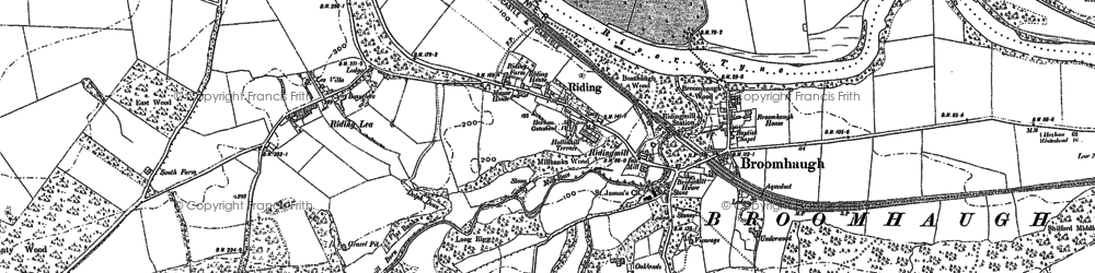 Old map of Riding Mill in 1895