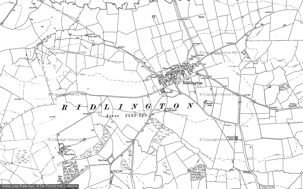 Old Map of Historic Map covering Leigh Lees in 1884